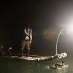 Nocne łowienie ryb z kormoranami